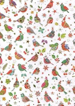 Papier Turnowsky les oiseaux de noël réhaussés or (50x70)