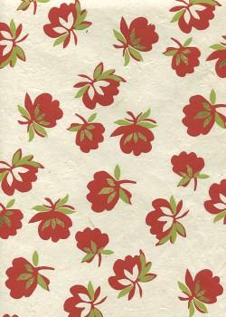 Lokta pivoine rouge et vert réhaussée or fond naturel (50x75)