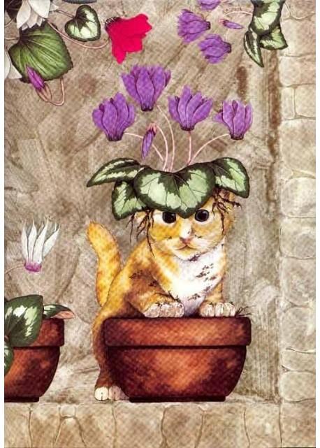 Chat dans le pot de cyclamens (45x65)*