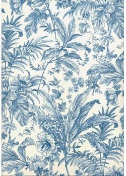 Toile de jouy bleu oiseau (70x100)