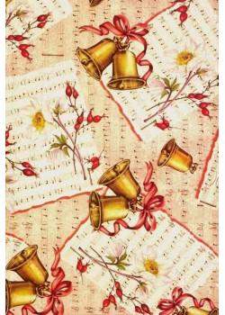 Partition de musique et clochettes de Noël (70x100)