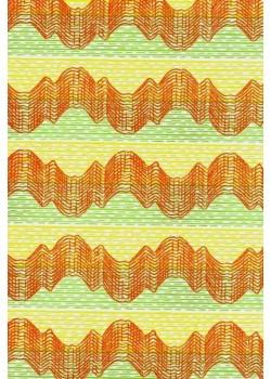 Vagues orange sur fond strié (66x100)