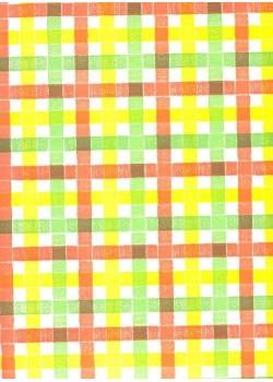 Ecossais jaune, orange et vert (66x100)