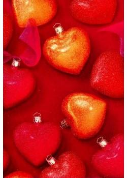NOEL EN ROUGE boules de Noël en coeurs (70x100)