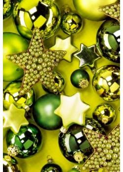NOEL EN VERT Boules et perles (70x100)