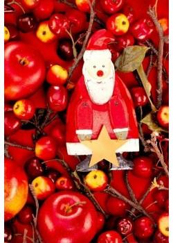 NOEL EN ROUGE Pommes d'amour et père Noël (70x100)*