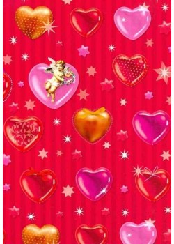 NOEL EN ROUGE coeurs et angelots fond rayé 2 tons rouge (50x70)