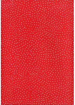 Petits pois blanc fond rouge (50x70)