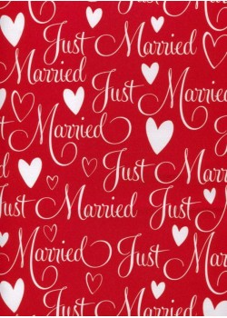 Just married blanc fond rouge (70x100)