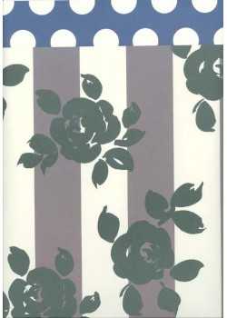 Style roses stylisées sur rayures (50x70)