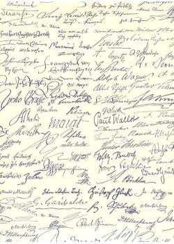 Signatures bleues de personnages célèbres (70x100)