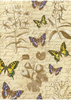 Ecriture et papillons réhaussé or (70x100)