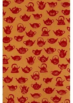 L'heure du thé rouge fond ocre (50x70)