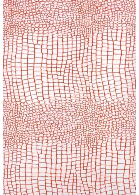 "Papier imitation Croco ""blanc et orange"" (70x100)"