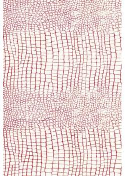 "Papier imitation Croco ""blanc et fuchsia"" (70x100)"