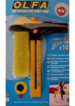 Cutter circulaire CMP1 Olfa (1,6cm à 22cm) + 10 lames: coupe maxi 0.5mm