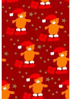 NOEL EN ROUGE Oursons bonnets rouges et cadeaux (70x100)*