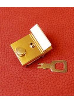 Serrure rectangle or + clé (35x25mm)
