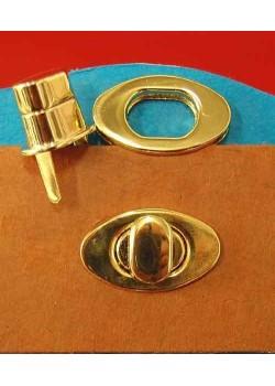 Serrure tourniquet ovale or poli (38x22mm)