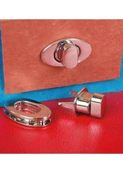 Serrure tourniquet ovale argent poli (38x22mm)