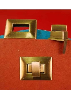 Serrure tourniquet rectangle bronze (40x30mm)