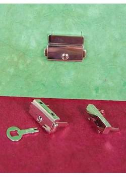 Serrure à griffes rectangle argent + clé (23x32mm)