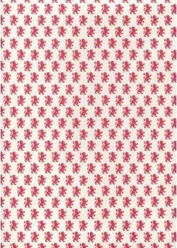 Lions rouge en semis fond écru (70x100)*