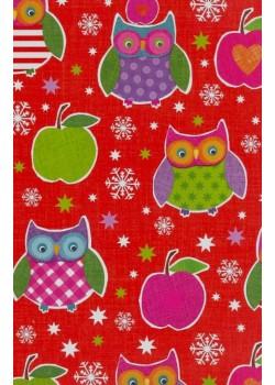 NOEL EN ROUGE Les chouettes de Noël aux pommes vertes (70x100)*