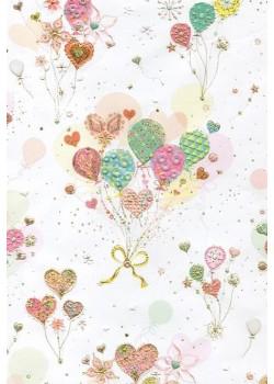 Papier Turnowsky envol de ballons réhaussé or (50x70)