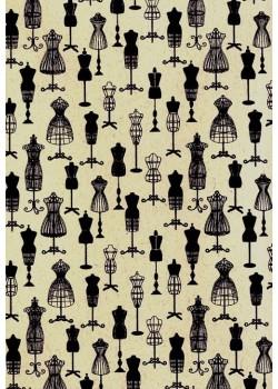 Mannequin noir fond écru (50x70)