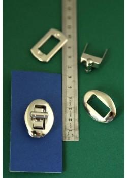 Serrures tourniquet ovale argent (33x23mm)