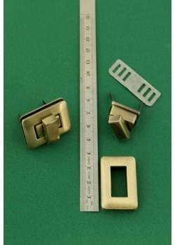 Serrure tourniquet rectangle bronze (36x25mm)