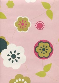 Style fleurs graphiques fond rose (50x70)