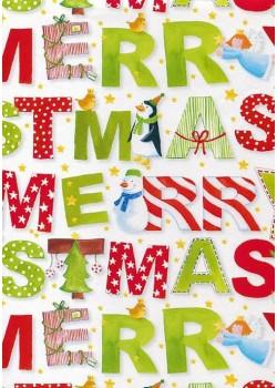 NOEL EN BLANC Merry christmas rouge et vert (70x100)*