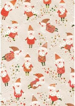 Papier Turnowsky la danse du père Noël réhaussée or (50x70)