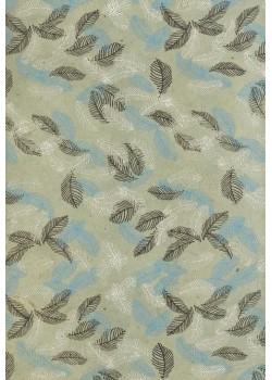 Lokta feuilles 2 tons bleu et argent fond bleu gris (50x75)