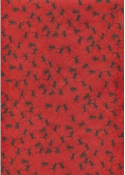 Lokta les fourmies noires fond rouge vif (50x75)