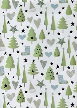 Symboles de Noël vert et bleu réhaussés doré (70x100)