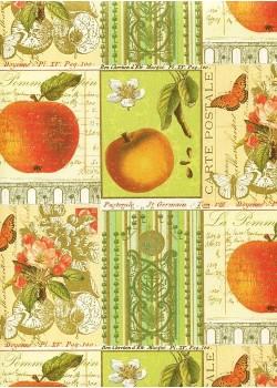 Cartes postales aux pommes et papillons réhaussées or (70x100)