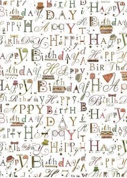 Papier Turnowsky happy birthday réhaussé or (50x70)