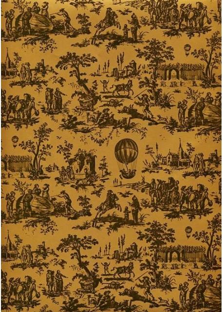 Fond Doré toile de jouy montgolfière noir fond doré (65x100)