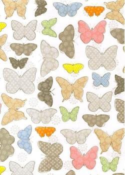 """""""Ton pastel"""" Les papillons réhaussés argent (70x100)"""
