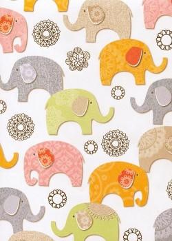 Les éléphants colorés réhaussé argent (70x100)