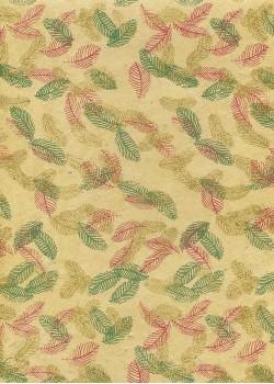 Lokta feuilles bordeaux vertes et or fond beige (50x75)