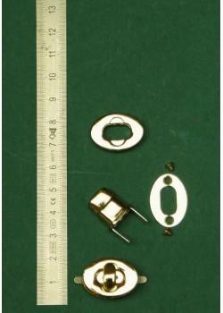 """Serrure tourniquet ovale or """"redoré"""" (23x17mm)"""