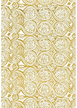 Entrelacs blanc fond doré vif (65X100)
