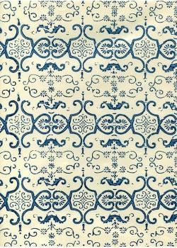 """""""Mosaïque"""" bleue fond ivoire (70x100)"""