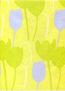 Les tulipes vertes et bleues fond anis (70x100)