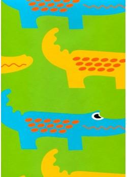 Les crocodiles fond vert pré (45x68)