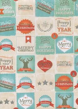 NOEL EN TURQUOISE Merry christmas réhaussé argent (68x98)